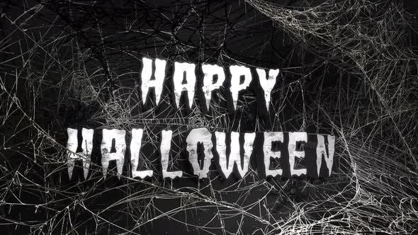 Animationstext Happy Halloween und mystischer Horrorhintergrund mit dunklem Spinnennetz, abstrakter Hintergrund