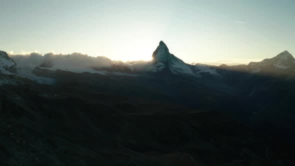Thumbnail for Aerial View of Swiss Alps. Matterhorn Against the Sunset Sky, Switzerland