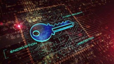 Cyber security with key symbol digital