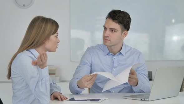 Thumbnail for Angry Businessman Discussing Documents with Partner, Business Loss