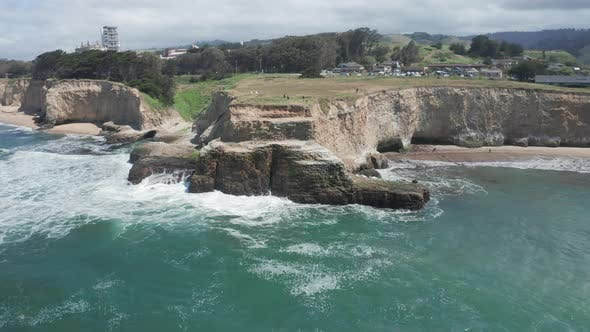 Thumbnail for Aerial of Scenic Nature Park, California,  Aerial of Ocean, Cliffs, Beach