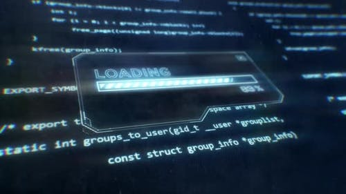 Computer Code Displayed on Sci-Fi Screen as Loading Message is Displayed