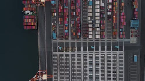 Aerial view of container terminal for import and export, business logistic and transportation.