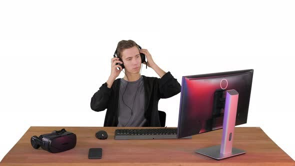 Thumbnail for Gamer Playing a Game and Losing on White Background.