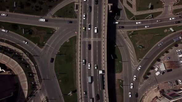 Thumbnail for Drone's Eye View -  Aerial Top Down View of Urban Traffic Jam on a Car Bridge.