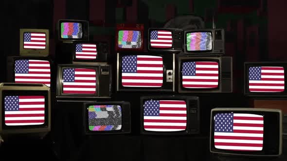 Flag of United States and Many Old Televisions.