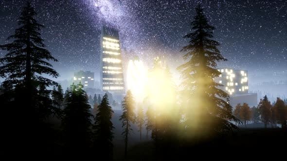 Thumbnail for City Skyscrapes at Night with Milky Way Stars