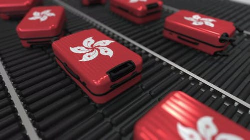 Suitcases Featuring Flag of Hong Kong