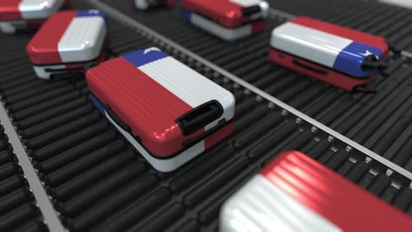 Travel Suitcases with Flag of Chile on Conveyer