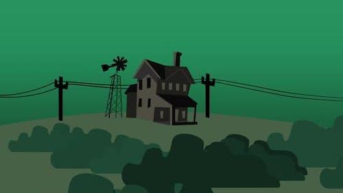 Cartoon background with house on farm