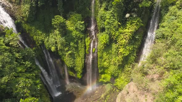 Cover Image for Beautiful Tropical Waterfall Bali, Indonesia