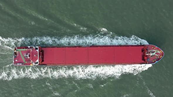 Bird's Eye View of a Cargo Ship at Sea