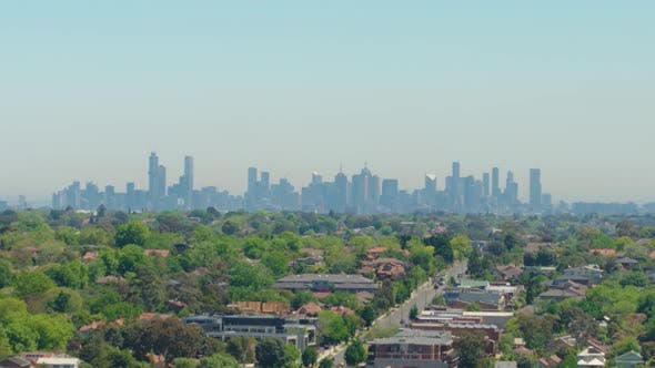 Cover Image for City Suburb Skyline Drone