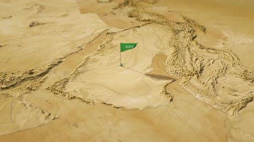 Vintage World Map - Flying Over To Saudi Arabia
