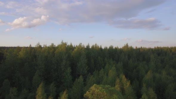 Aerial Rural Scene at Sunset, Russia