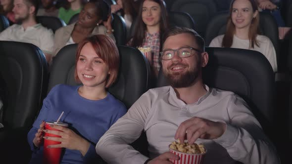 Red Headed Woman Enjoying Movie Cinema