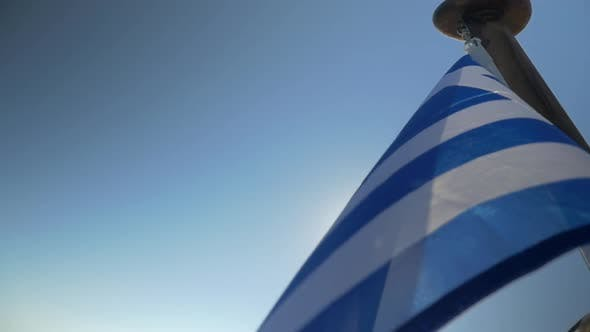 Thumbnail for Greek Flag Waving in the Wind on Sky Background