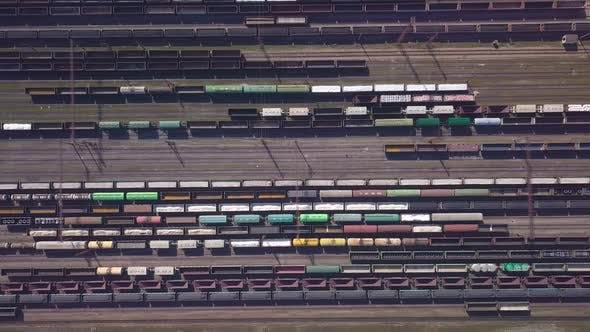 Aerial View of Railway Sorting Station and A Lot of Wagons at a Railway