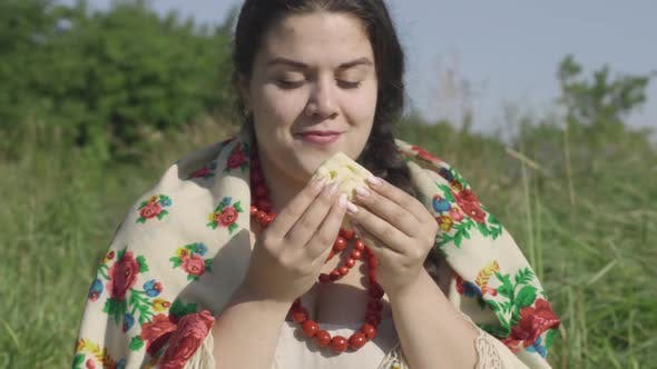 Thumbnail for Portrait of Beautiful Overweight Woman Eating Pancakes with Cottage Cheese Outdoors