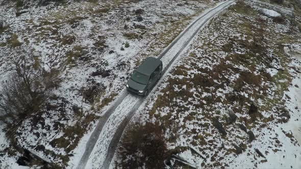 Thumbnail for Car In The Frozen Snowy Countryside