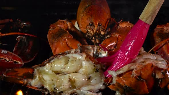 Butter on Grilling Lobster with Live Flames