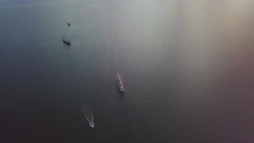 Aerial View of the Frigate Under Sail in the Sea