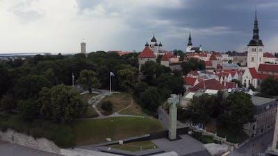 Aerial View of the Freedom Square in Tallinn Estonia