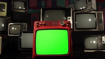 Retro TV Set with Green Screen Exploding. 4K.