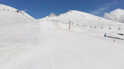 Zoom In Aerial View Slope With Beginner Skier