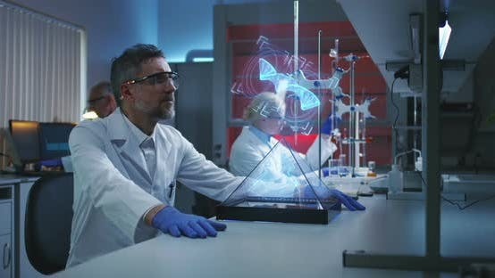 Thumbnail for Scientist Examining Holographic DNA Chain