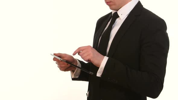 Thumbnail for Businessman Using His Smart Phone on White
