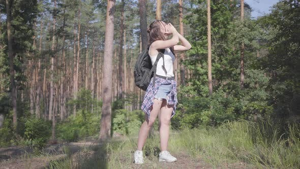 Cover Image for Portrait Pretty Young Woman Gets Lost in the Forest, She Calling for the Help. The Girl Despair, She