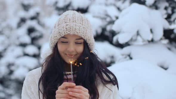 Thumbnail for Winter Young Woman Portrait with Burning Firelight