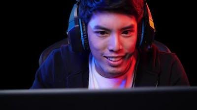 Gamer man playing and enjoy