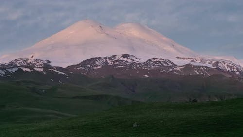 View of mount Elbrus in the morning at sunrise.