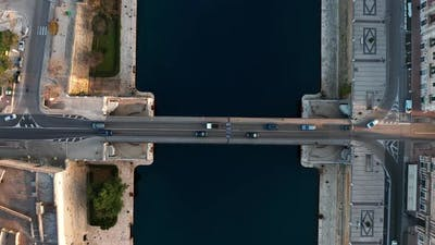 Top view of bridge with traffic