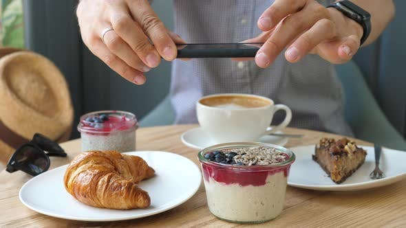 Thumbnail for Man Hands Taking Photos Of Breakfast Food With Smartphone