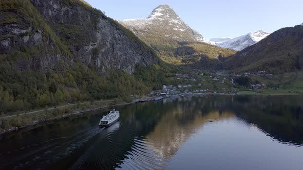 StockNorwegian Fjord with a Vehicle and Passenger Ferry