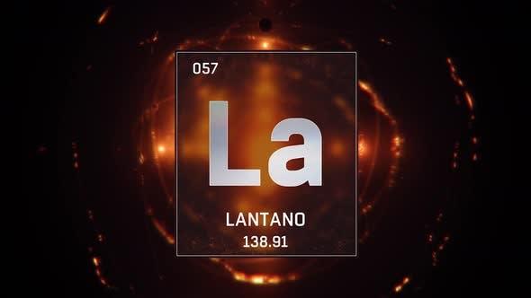 Lanthanum as Element 57 of the Periodic Table on Orange Background in Spanish Language