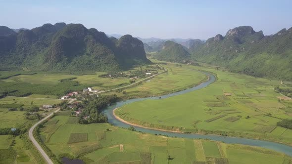 Landscape with River Fields and Old Mountains Bird Eye View