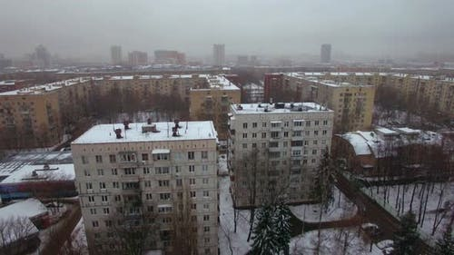 Aerial winter view of apartments buildings in Moscow, Russia