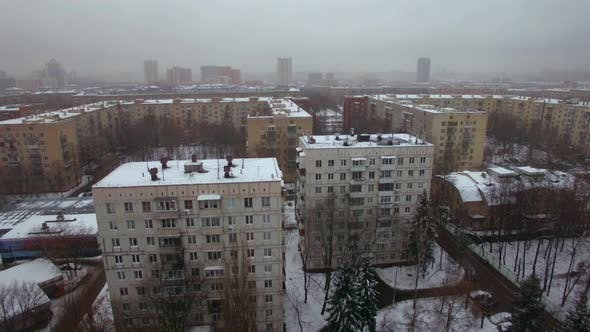 Thumbnail for Aerial winter view of apartments buildings in Moscow, Russia