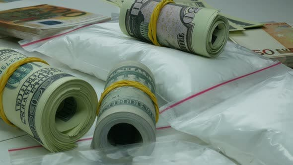 Thumbnail for Illegal Money Profit Of The Drug Cartel From The Sale Of Cocaine And Narcotic Tablets