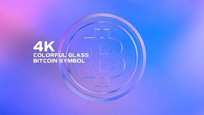 Colorful Glass Bitcoin Symbol