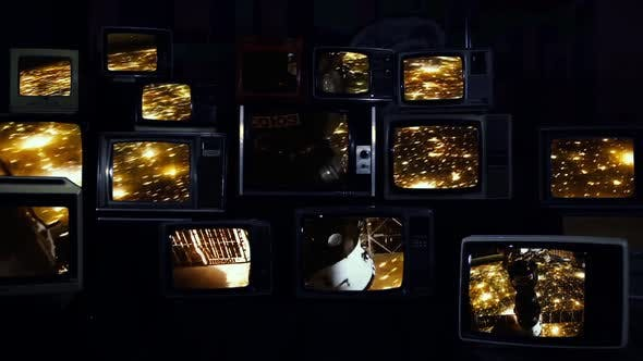 Thumbnail for Planet Earth at Night and Russian Soyuz Spacecraft On Retro TVs.