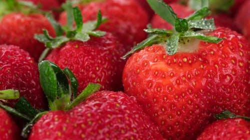 strawberry close up. Summer Dessert. Sliding shot. 4K UHD video