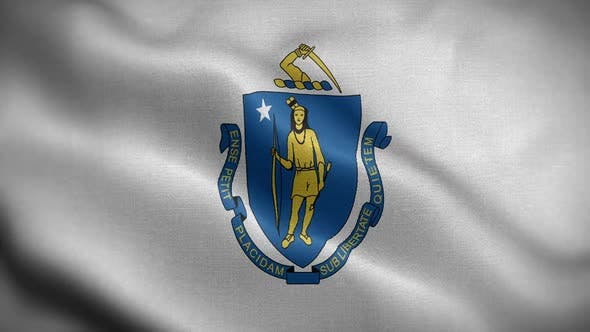 Massachusetts State Flag Blowing In Wind