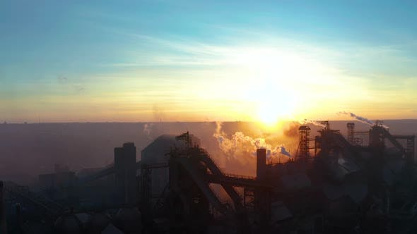 Thumbnail for Industrial Zone with Pipe Thick White Smoke Is Poured From the Factory Pipe in Contrast To the Sun