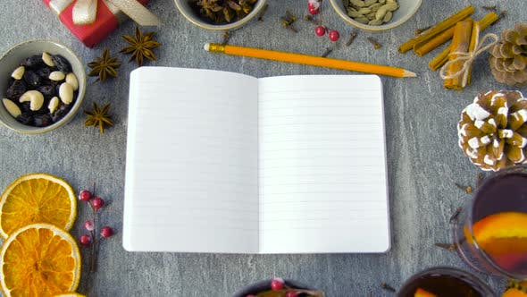 Notebook, Hot Mulled Wine and Aromatic Spices