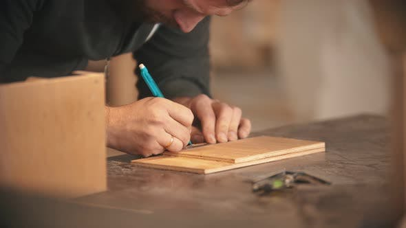 Thumbnail for Carpentry Working - Bearded Man Making Marks on the Wood